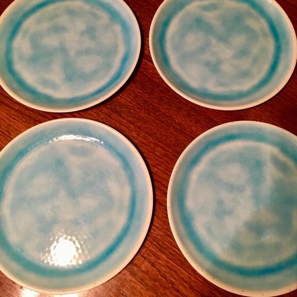 Aqua Blue Outdoor Melamine Dinner Plates - 4